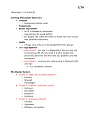 Lecture 14 Class Notes, Personality Disorders