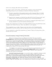 Marketing plan paper