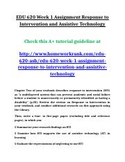EDU 620 Week 1 Assignment Response to Intervention and Assistive Technology