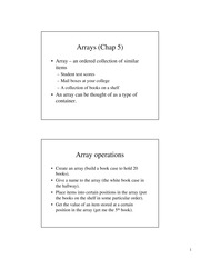 Chapter 5: Arrays