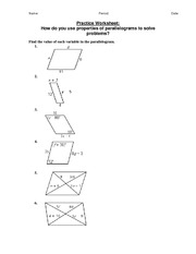 Worksheets Properties Of Parallelograms Worksheet 2 2a2 parallelograms find the indicated measure in abcd 9 m aeb 10 bae 11 aed 12 ecb 13 m