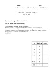 Midterm Exam 2 Solution Summer 2012 on Calculus
