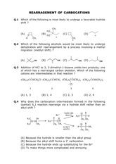 Questions on Rearrangement of Carbocations