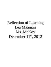 Reflection of Learning