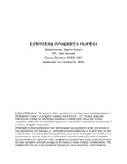 Estimating Avogadros Number Lab Report