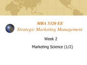 Lecture 2 Marketing Science for Strategic Marketing Management