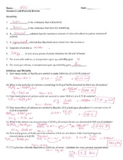 Solutions and Molarity Review - Key