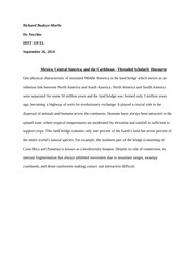 Mexico Central America and Carribean writing assignment