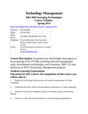 BBA 460_Technology Management_Course Syllabus