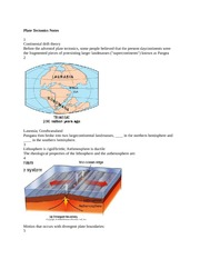 GEOL 1000 Plate Tectonics Notes