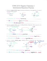 Substitution Reactions Practice Key