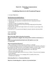 Lecture - Establishing Objectives for the Promotional Program (1) (1).doc