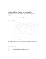 An investigation of the entrepreneurial orientation, context and entrepreneurial performance of inne