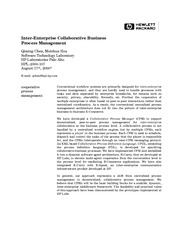 Inter-Ente rprise Collaborative Business Process Management