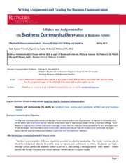 Business Communication Syllabus (2) - NB Spring 2015- BF Class