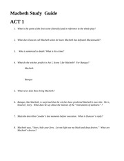 study guide for macbeth
