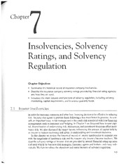 Chap 7-Insolvencies, Solvency Ratings, & Solvency Regulation
