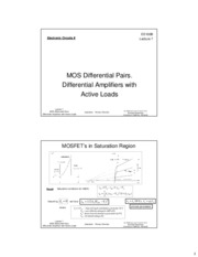 ee100b Lecture 07 - MOS Differential Pairs, Differential Amplifiers with Active Loads (Slides 2x1 bw