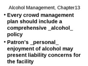 OUTLINE Ch 13 Implementing Security Plan_Alcohol Mgt