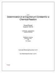 Determining the Equilibrium Constant for a Chemical Reaction