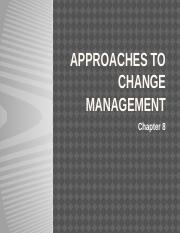 Week 9  Approaches to change management