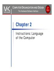 Chapter 2 Pdf Computer Organization And Design The Hardware Software Interface Chapter 2 Instructions Language Of The Computer 5th Edition The Course Hero