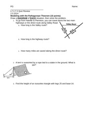 Worksheets Pythagorean Theorem Applications Worksheet 7 1 2 pyth thm word problems 3 5 in baseball the distance between bases is 90 ft if paths to