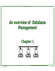 1 An overview of Database Management
