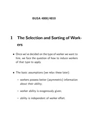 BUS 4800 Selection and Sort of Workers Notes
