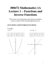 Lecture 1 - Functions and Inverse Functions