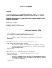 Informative Speech- Evaluation Form