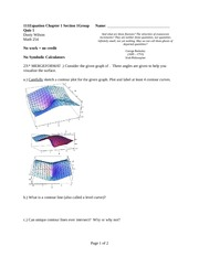 Quiz 1 Spring 2014 on Multivariable Calculus