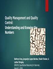 Quality Management and Quality Control Power Point - Draft 4