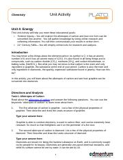 Unit 4 Energy Chemistry Unit Activity Unit 4 Energy This Unit Activity Will Help You Meet These Educational Goals Science Inquiryyou Will Explore The Course Hero
