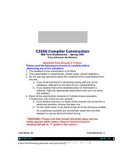 Compiler Construction - CS606 Spring 2005 Mid Term Paper