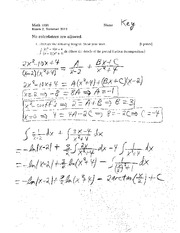Exam B Summer 2012 Solutions on Calculus