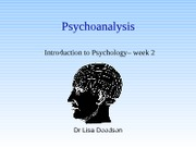 Week 2 - The psychoanalytic approach Fall 2011