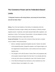 Commerce Power and Federalism