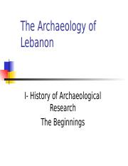 The beginning of archaeological research, the 19th c. - week 1