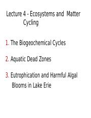 Lecture 4 - Ecosystems and Matter Cycling - A2L