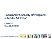 Social and Personality Development in Middle Adulthood Lecture