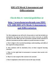 EDU 673 Week 3 Assessment and Differentiation.doc