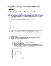 Topic 8; Energy, power and climate chnage (notes)