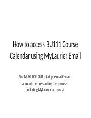 How to Access BU111 Course Calendar