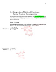 8.4 Integration of Rational Functions