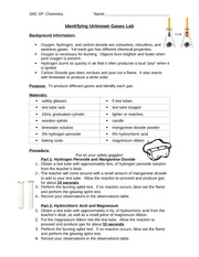 Lesson 9 - Unknown Gases Lab
