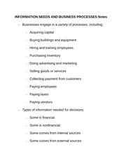 INFORMATION NEEDS AND BUSINESS PROCESSES Notes