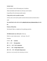 Activity Series Notes