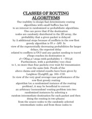 CLASSES OF ROUTING ALGORITHMS