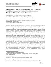Aguilera-Caracuel et al (2015). Int'l Cultural Diversification & Corporate Social Performance - Mgmt